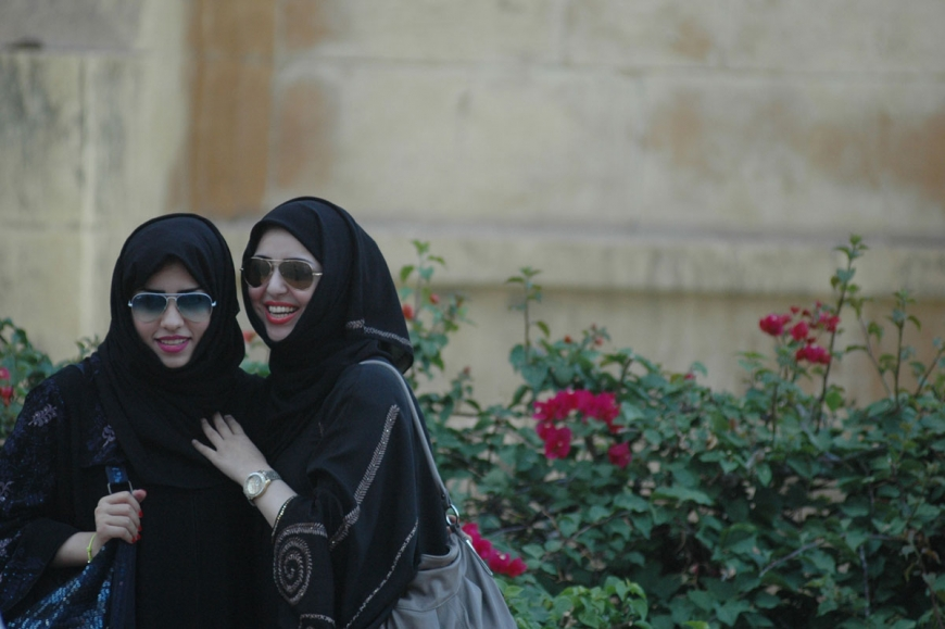 Gulf women in black embroidered hijabs