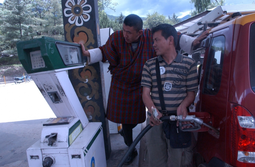 BHUTAN PETROL STATION HIGH OIL PRICE